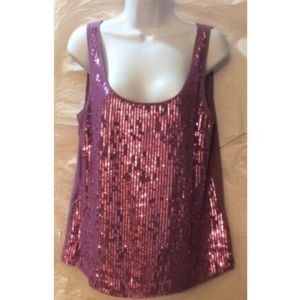 DKNY Women's Pink Top Sequin Front  Sleeveless